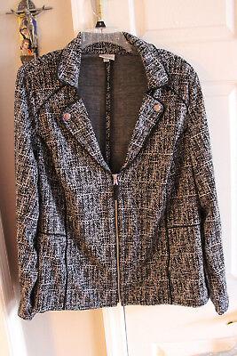 Avenue Black and White Zip Front Ladies Jacket Size 14/16