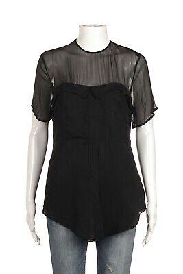 3.1 Phillip Lim Illusion Blouse 4 Small Cotton Silk Black Sheer Blouse Top Shirt