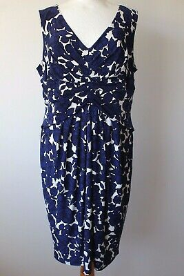 PHASE EIGHT FLORAL PRINT DRESS NAVY MIX  SIZE 20