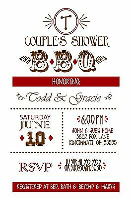 Couples Wedding Shower Invitations (BBQ Couples Bridal Wedding Shower Invitation Any Colors)