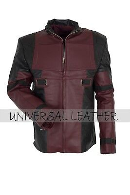 Dead pool Ryan Reynolds Maroon Black faux Inspired Leather jacket Costume  - Deadpool Halloween Ryan Reynolds