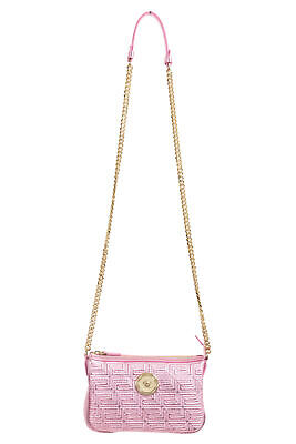 Versace Women's Quilted Leather Sparkle Pink Chain Strap Crossbody Shoulder Bag