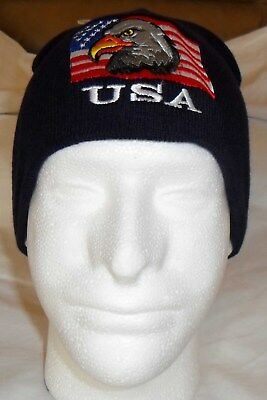 bbaa33b77c71e2 USA FLAG & EAGLE Patriotic Watch Cap Beanie Winter Ski Hat Toboggan