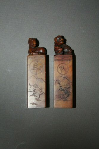 PAIR OF VINTAGE CARVED STONE CHINESE CHOP STAMP SEAL