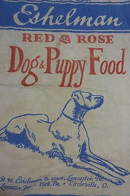 Old ESHELMAN RED ROSE DOG & PUPPY FOOD Cloth Sack Lancaster York Circleville