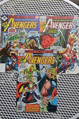 AVENGERS #164-166 3pt story (1st Series) 1977 MARVEL FN/VF