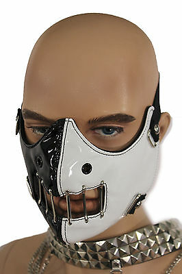 New Face Mask Mouth Muzzle Costume Black White Halloween Hannibal Motorcycle S&M](Black And White Halloween Faces)