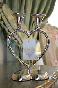 Silver French Metal Candelabra Heart Romantic Art Deco Candle Holder Swirl