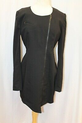 Black Halo Black Long Sleeve Zip Front Jackie O Jacket Dress 12 Large