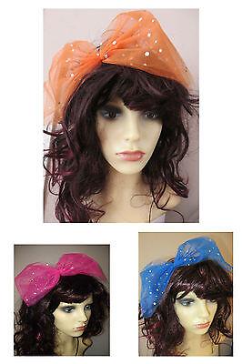 rsize bow Sequin Bow Headband - Flo Pink, Blue, Orange (Flo Kostüm)