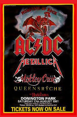 Monsters of Rock: AC/DC, Motley Crue, Metallica ,Queensryche Concert Poster 1991