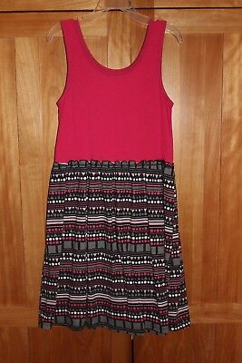 Girl HOT PINK TANK TOP DRESS WITH GEOMETRIC PATTERN SKIRT SUMMER GUC LARGE 10 12 - Hot Girl With Clothes