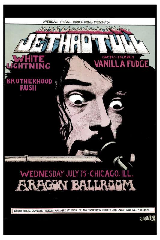 Hard Rock: Jethro Tull at The Aragon Ballroom Concert Poster 1970 12x18