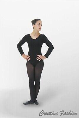 Trikot Body Baumwolle Damen Langarm schwarz Ballett Gymnastik Turnen ()