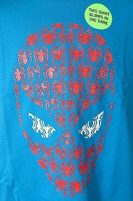 Spiderman Boys T-Shirt New Marvel Blue Glow in the Dark super (Boys Glow In The Dark T Shirt)