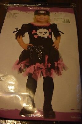 GIRL'S TODDLER SALLY SKULLY PINK & BLACK PIRATE COSTUME by Funworld