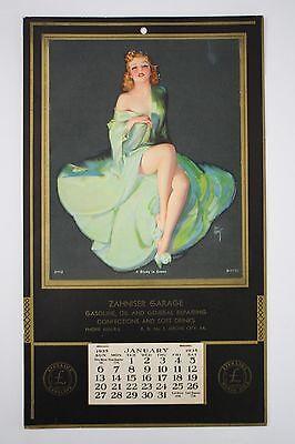 Original 1935 Pinup Advertising Calendar - Grove City, Pa. Sterling Gas & Oil
