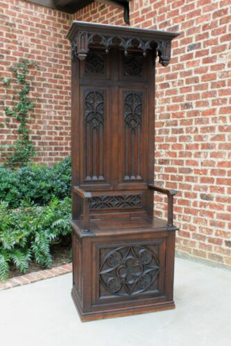 Antique French Carved Oak HALL SEAT MONK