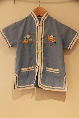 Asiatisches Kinder-Hemd von PLUM BLOSSOMS mit Stickereien, blau-weiß, - Plum Kinder Kostüme