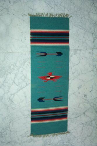 Spanish Colonial Art Handwoven Chimayo Rug Thunderbird Runner 60 X 20