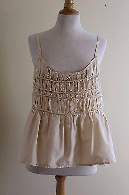 Krista Larson Art-to-Wear Gathered Pleated Ivory Taffeta Silk Cami Top O/S