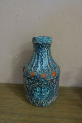 """Vintage Puerto Rico Rican Handcrafted Signed Studio Art Pottery Vase Bottle 9"""""""