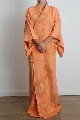 Authentic traditional vintage Japanese rinzu silk bright orange ombre kimono