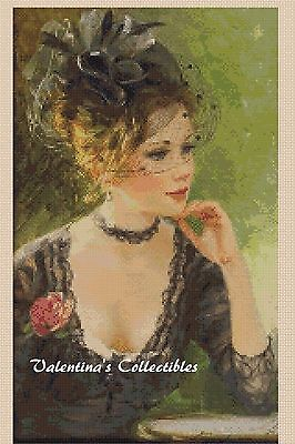 Victorian Lady with Red Rose Counted Cross Stitch COMPLETE KIT #1-324