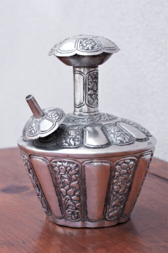 Antique 19th Century Silver Kendi , Floral Repousse, Holy Water Ritual Container