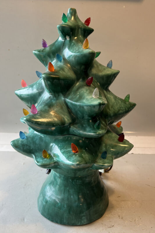 "Antique 1950s Jamar Mallory Ceramic Studio 16"" Musical Christmas Tree- Rare!!!!"