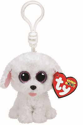 PIPPIE DOG - Ty Beanie Boos Keyring Key Clip - Plush Boo Babies Toy Teddy