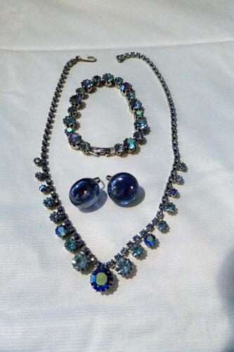 Vintage Blue Aurora Borealis Rhinestone Necklace Bracelet and Earrings