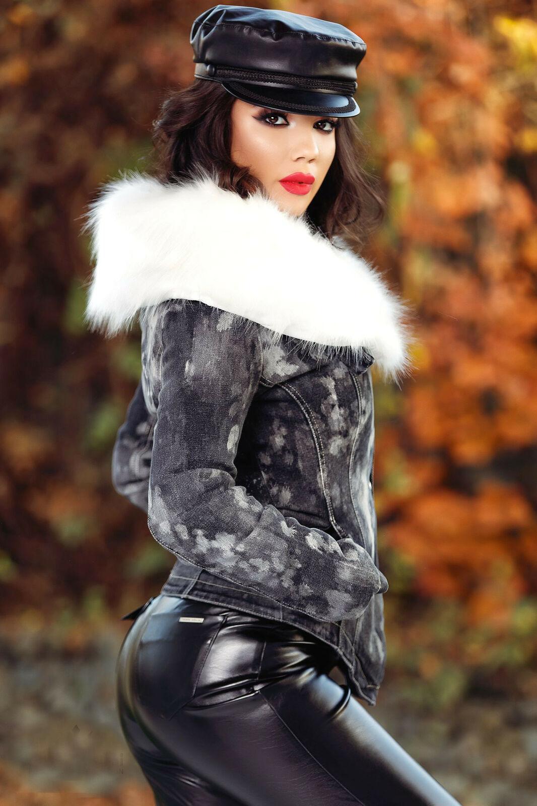 FOGGI Damenjacke Blazer Mantel gefütterte Übergangsjacke Felljacke 34-40 #F624