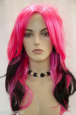 Hot Pink / Black Fun Color Long Straight Fun Color Costume - Hot Pink Wigs