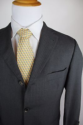 56a61d141 Hugo Boss Rossellini Movie Super 110 Suit Size 38S (30x28) Flat Front Gray 3