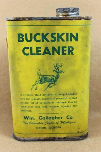 Vintage Hunting  BUCKSKIN Cleaner Tin w/  PAPER LABEL Fenton, Mich.