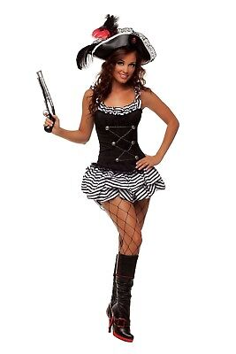 Peter Pan Pirate Costume (Pirate Wench Corset Striped Dress Sexy Costume Womens Adult Buccaneer Peter)
