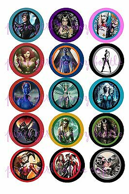 DC & Marvel Comics Villianess' Poison Ivy Mystique15 Precut Bottle Cap Images
