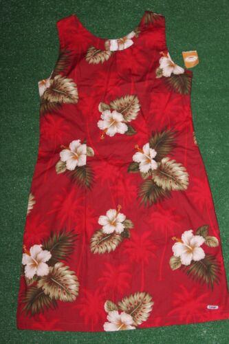 NEW+Tags Hawaiian Tank Red Dress Birds Of Paradise Green Palms Luau Beach vtg