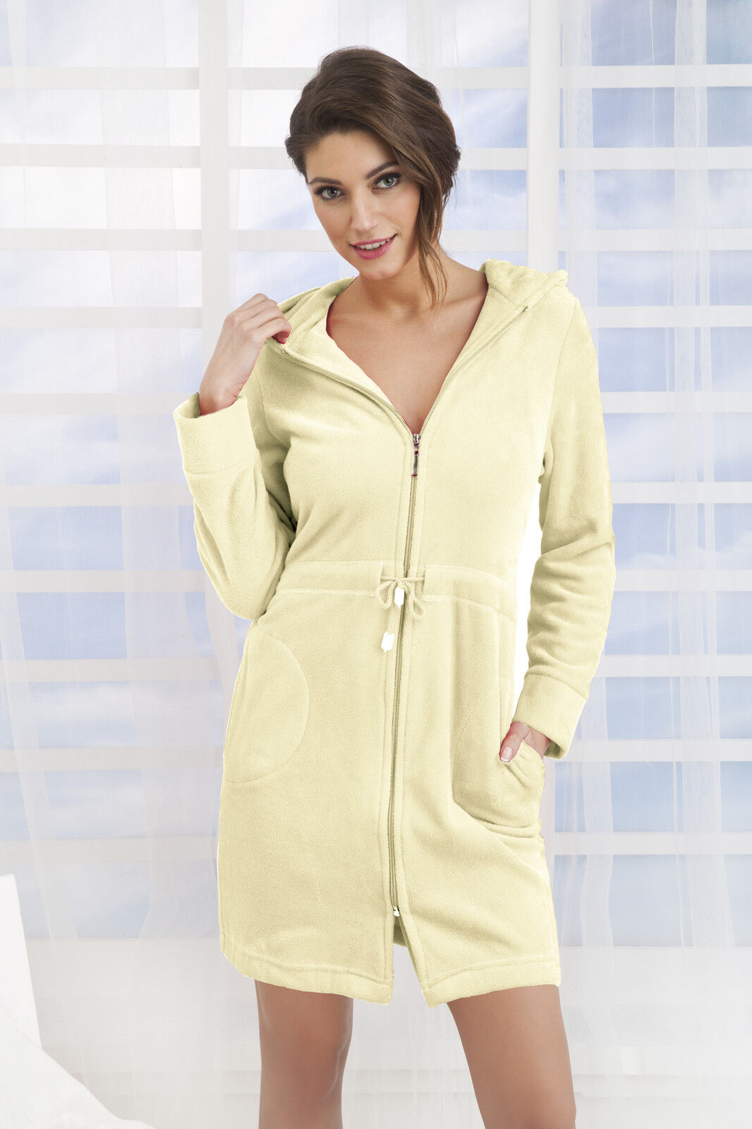 New Womens Cotton Dress Style Bath Robe Housecoat Dressing Gown Zip ...