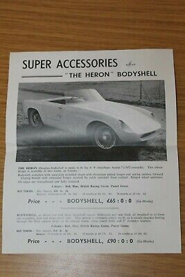 Super Accessories Austin 7 The Heron Bodyshell Sales Sheet circa 1961
