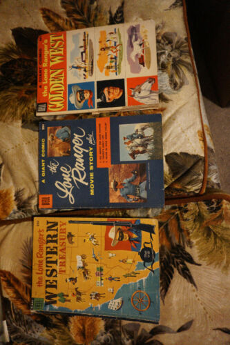 Dell Giant comic lot:The Lone Rangers Western Treasury, Movie Story, Golden West