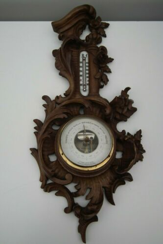 carved wood barometer baroque barometer & thermometer 19 th C