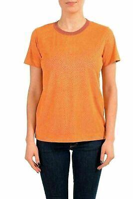 Just Cavalli Damen Wildleder Effekt Kurzarm Rundhalsausschnitt T-Shirt US S It - Braune Wildleder-effekt