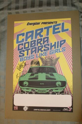 Signed Band Poster - Cartel, Cobra Starship, Boys Like Girls - Emo