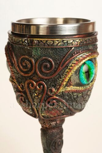 Eye of the Dragon Fantasy Goblet Occult Ceremonial Chalice Smaug Wizard Alchemy