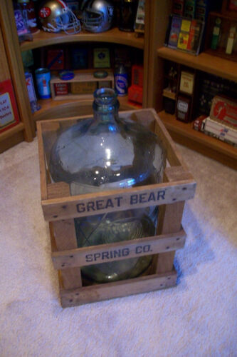 Vintage 5 Gallon Glass Water Bottle Great Bear complete with wooden Crate