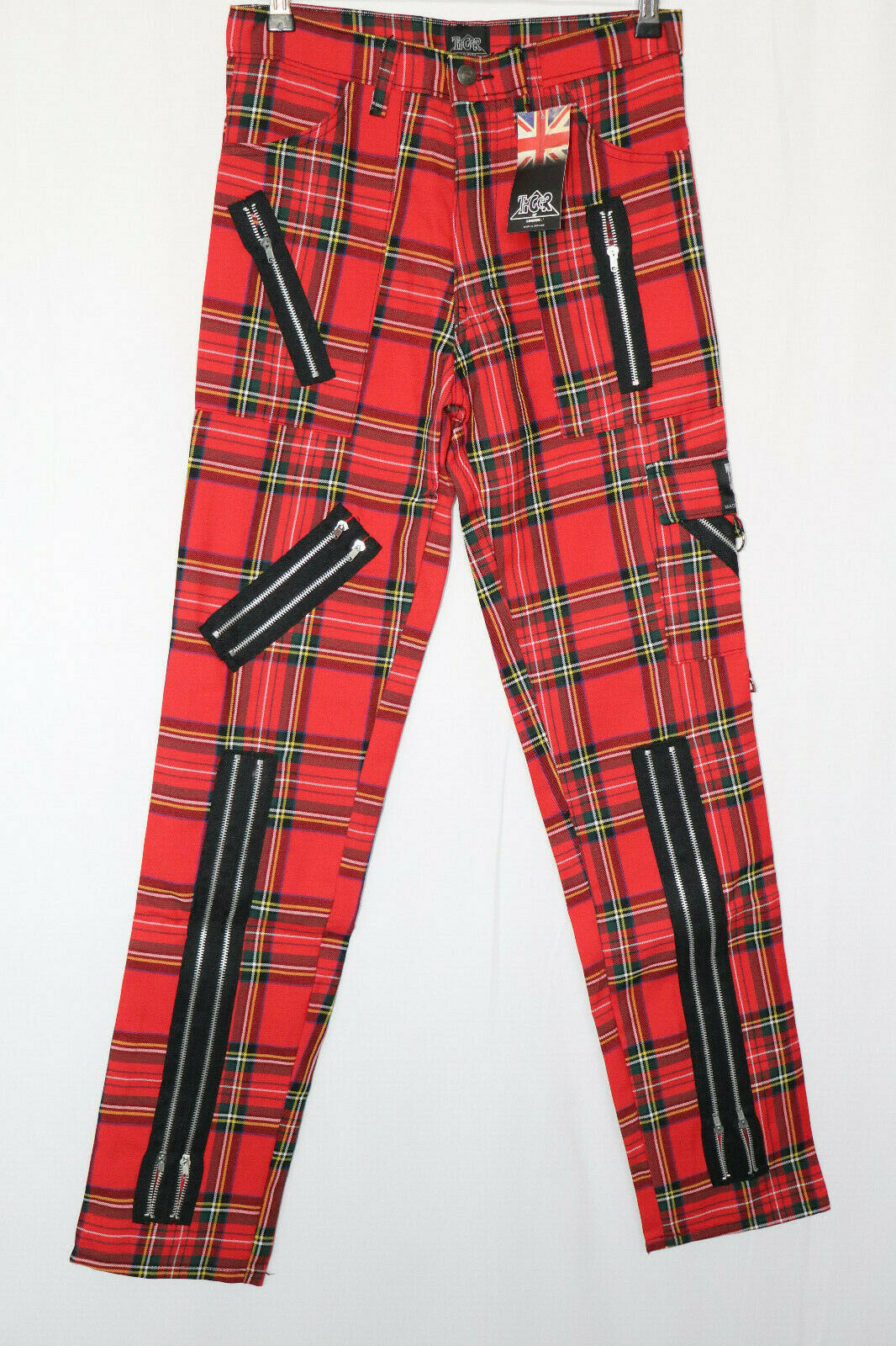 Tiger London Zipper Kariert Caro punk Ghotic Hose jeans 30 inch rot freaks
