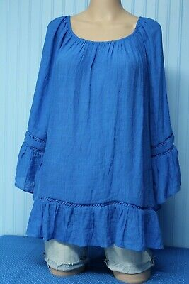 NWT Counterparts bright blue loose fit elastic neck top with bottom ruffle XL
