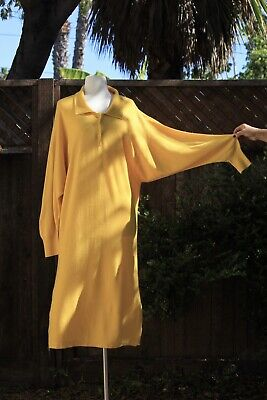 80s Dresses | Casual to Party Dresses vintage 1980s Cashmere Sweater dress Yellow Maxi Made In France M Large XL $62.00 AT vintagedancer.com